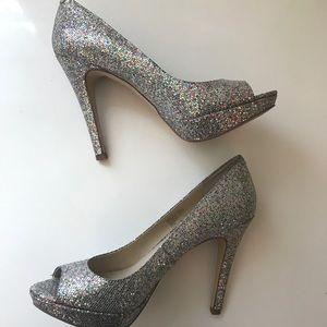 ✨ INC Peep Toe Silver Sparkle Heels ✨